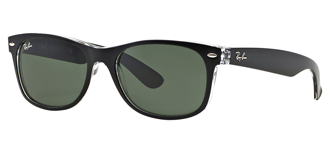 13a7fd0727 ... Ray-Ban RB2132 New Wayfarer Sunglasses – Black   Clear   Green. prev.  next. 0RB2132  6052 product2