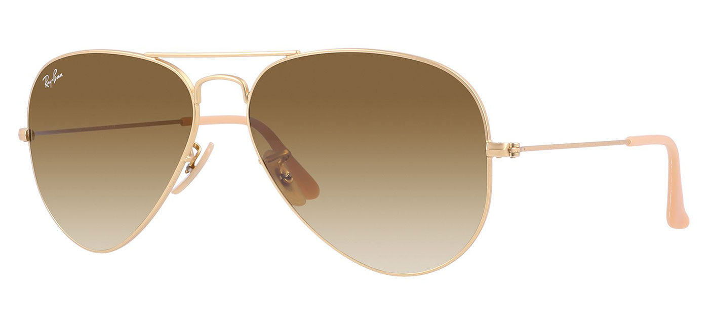 Rb3025 Aviator Sunglasses Gold Frame Crystal Gradient Bl : Ray-Ban RB3025 Aviator Sunglasses - Matte Gold / Brown ...