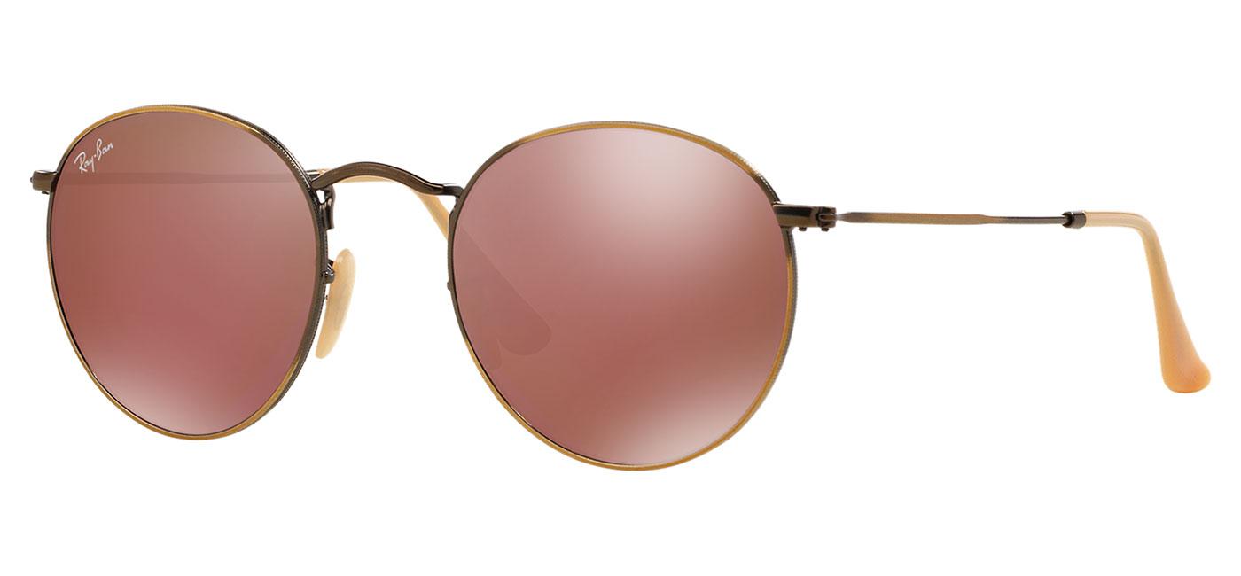 82bb2b4bbe Ray-Ban RB3447 Round Metal Sunglasses - Matte Gold   Copper Flash -  Tortoise+