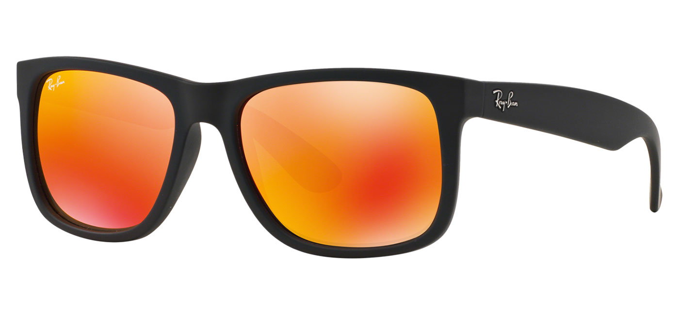 ecc3532088 0RB4165  622 6Q product2. 0RB4165  622 6Q product3. Ray-Ban RB4165 Justin  Sunglasses – Rubberised Black   Orange Flash 4