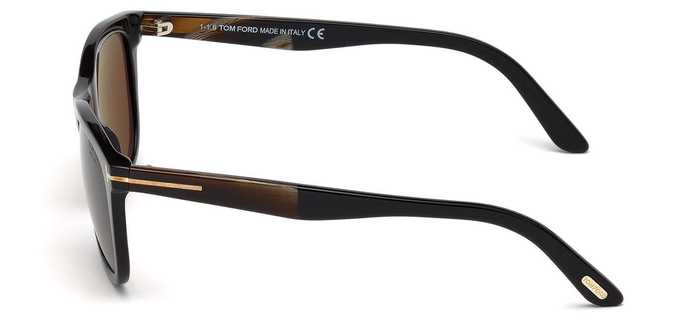 3348f5ec368ba Tom Ford FT0500 Andrew Sunglasses - Shiny Black   Polarised Brown ...