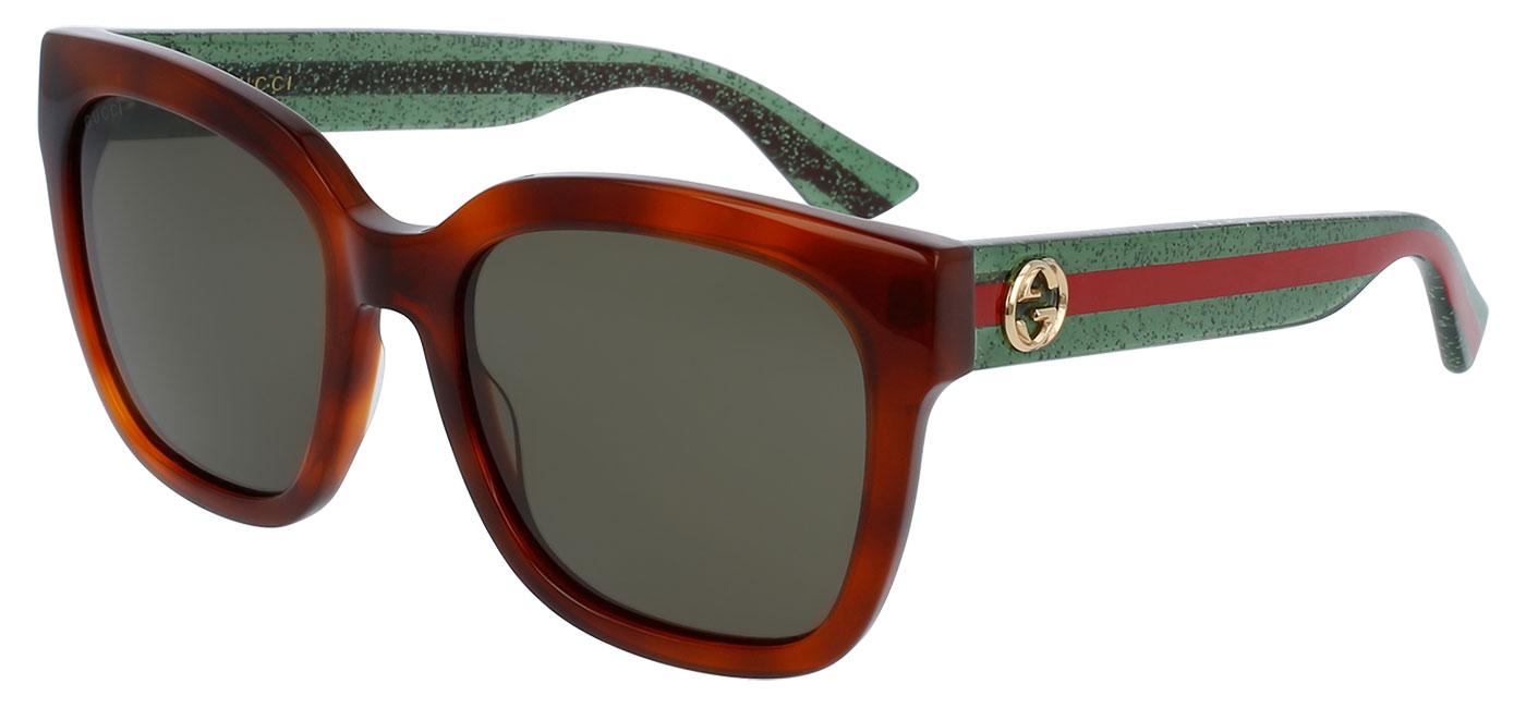 9202c9dd19e Gucci GG0034S Sunglasses - Avana   Glitter Green   Green - Tortoise+Black