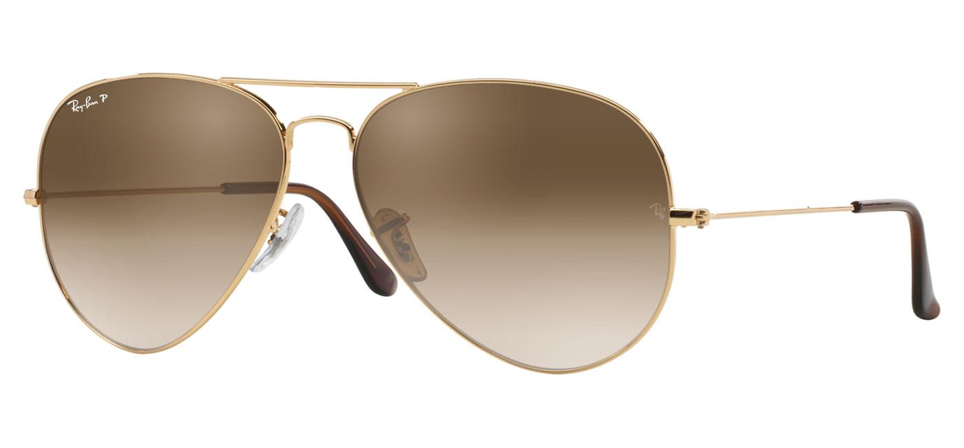 b7d4555f91 Ray-Ban RB3025 Aviator Prescription Sunglasses - Gold (Brown Temple ...