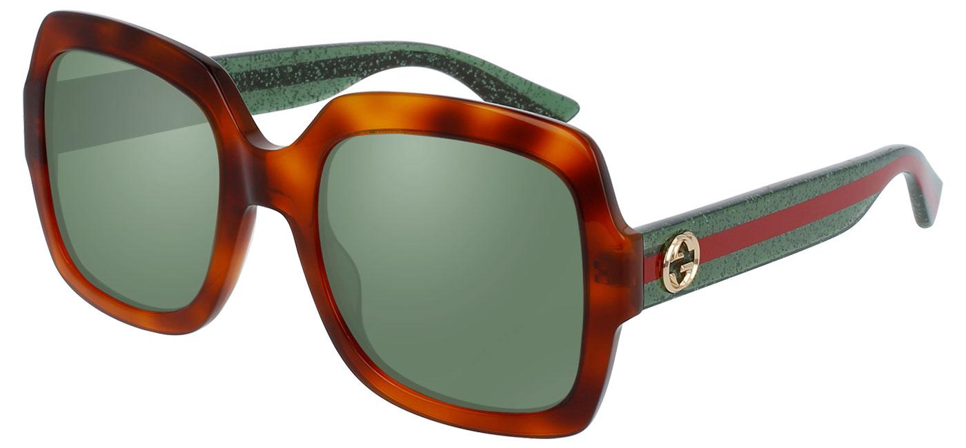 fb9dd13cfd Gucci GG0036S Sunglasses - Avana   Glitter Green   Green - Tortoise+ ...