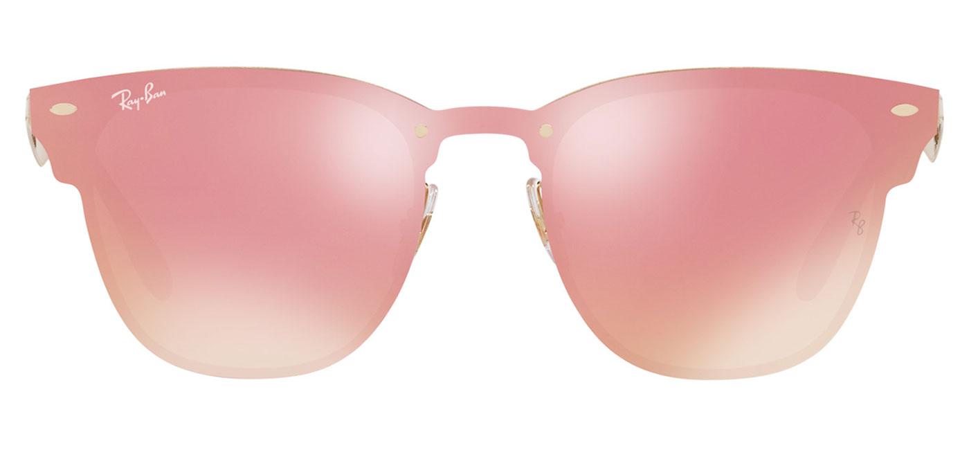 dcdf352aef4 Ray-Ban RB3576N Blaze Clubmaster Sunglasses - Gold   Pink Mirror ...