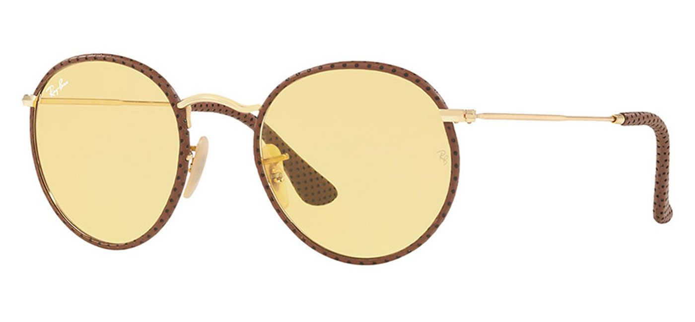 ... real ray ban rb3475q round craft sunglasses light brown leather yellow  ambermatic 2 4484b ad4e2 edf8ee5083
