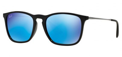 Ray-Ban RB4187 Chris Sunglasses - Black & Gunmetal / Blue Mirror