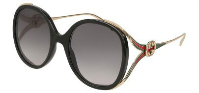 Gucci GG0226S Sunglasses - Black & Gold / Grey Gradient