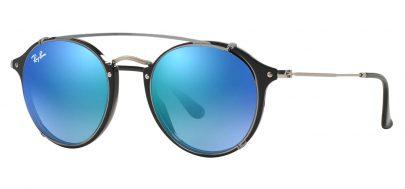 Ray-Ban RX2447V Glasses - Black & Clip-On (Gunmetal / Blue Flash Gradient)