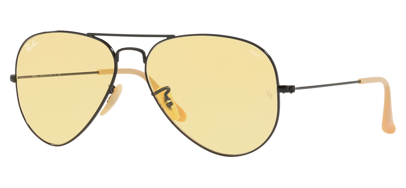 Ray-Ban RB3025 Aviator Sunglasses - Black / Evolve Yellow