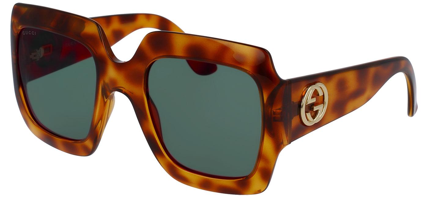12639c38064 Gucci GG0053S Sunglasses - Tortoise   Green - Tortoise+Black
