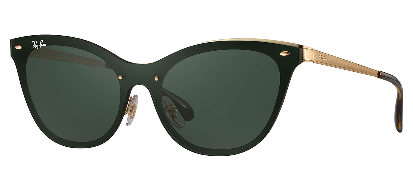 3479ddd1cbc Ray-Ban RB3580N Blaze Cat Eye Sunglasses - Gold   Green Classic -  Tortoise+Black