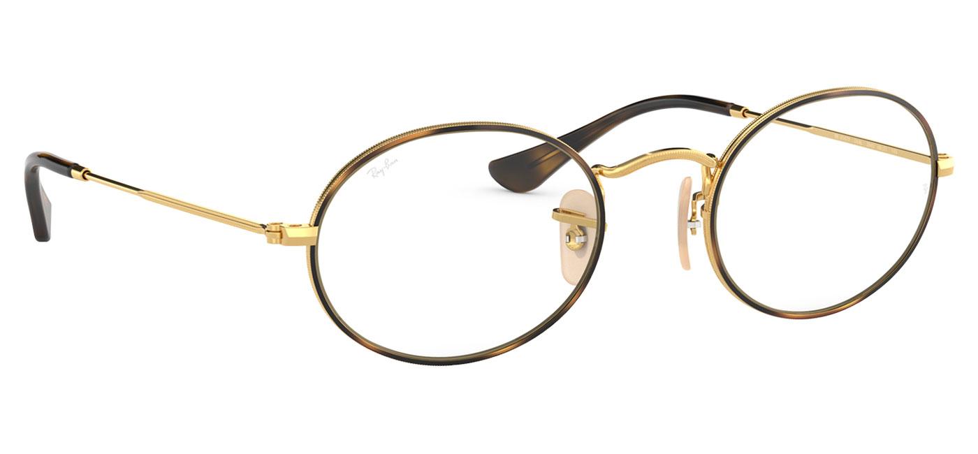 936d769643 Ray-Ban RB3547V Oval Optics Glasses - Gold   Havana - Tortoise+Black