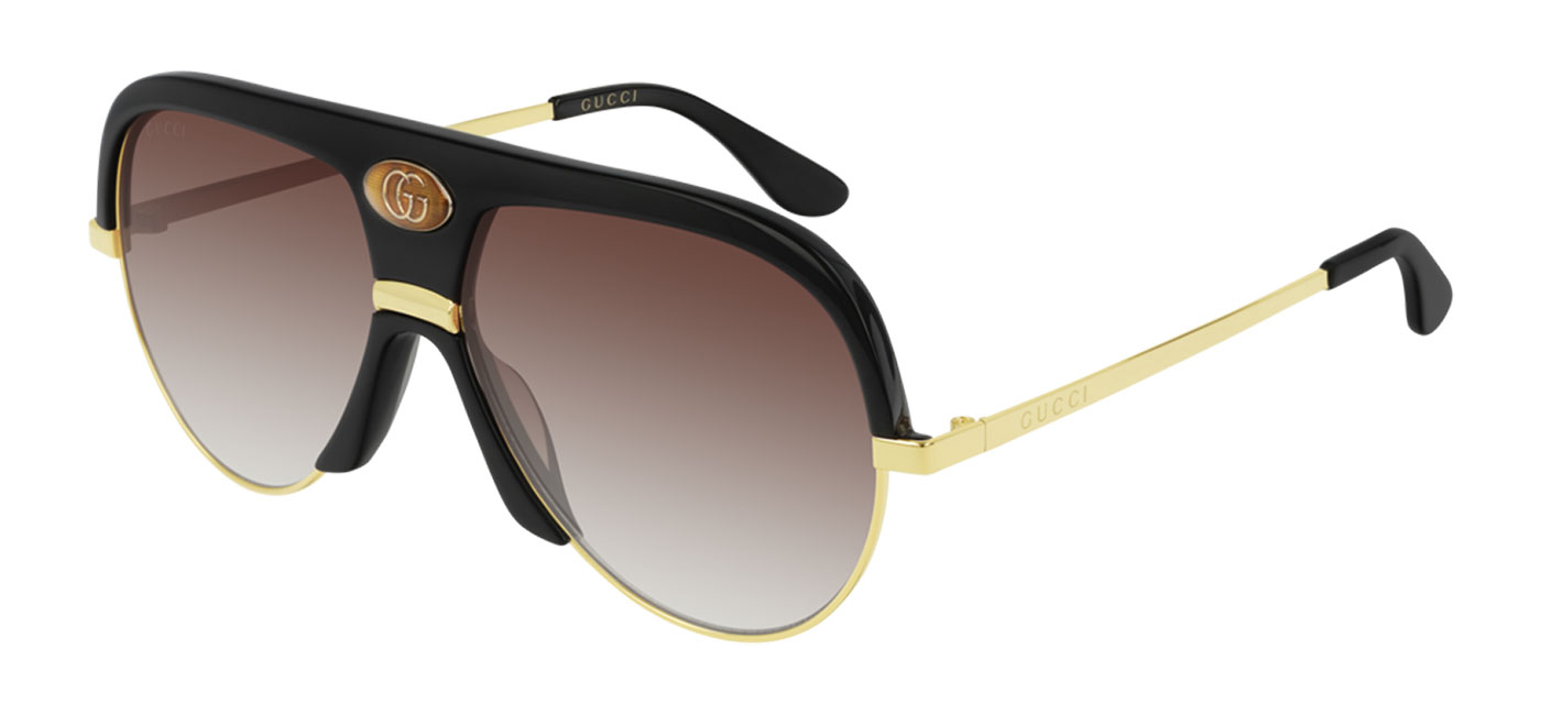 e1cf3f418bd02 Gucci GG0477S Prescription Sunglasses - Black   Gold   Gradient Red ...