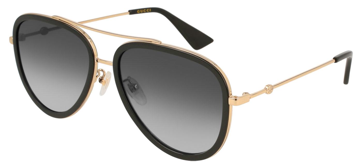 d78734157 Gucci GG0062S Prescription Sunglasses - Black & Gold / Grey Gradient -  Tortoise+Black