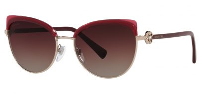 Bvlgari BV6158B Prescription Sunglasses - Pink Gold & Transparent Red / Brown Purple Gradient