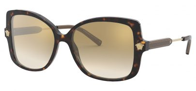 Versace VE4390 Sunglasses - Havana / Brown Gradient Gold Mirror