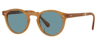 Oliver Peoples OV5456SU Gregory Peck 1962 Prescription Sunglasses - Semi Matte Amber Tortoise / Cobalto