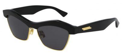 Bottega Veneta BV1099S Sunglasses - Black & Gold / Grey