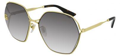 Gucci GG0818SA Sunglasses - Gold / Grey Gradient