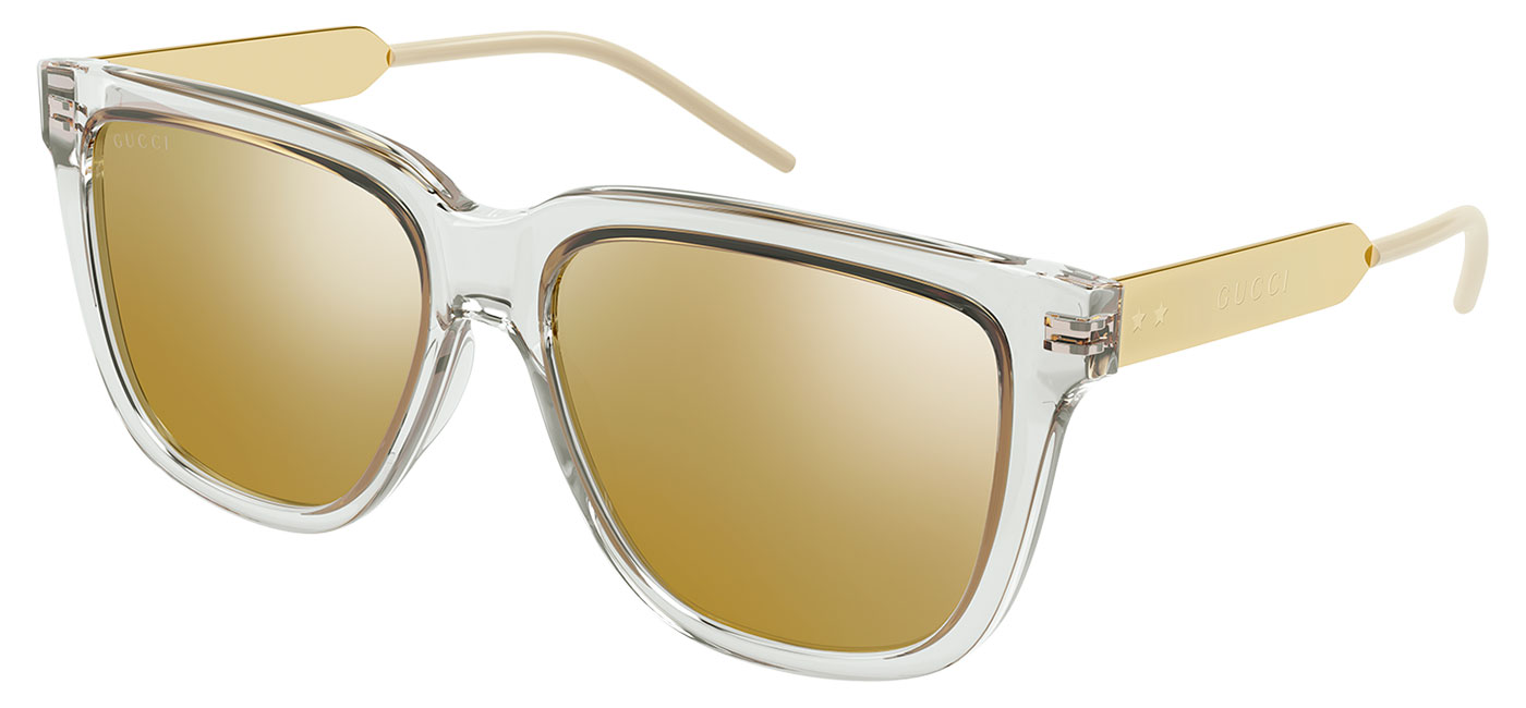 Gucci GG0976S Sunglasses – Crystal & Gold / Gold Mirror 1