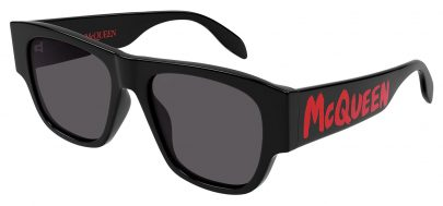 Alexander McQueen AM0328S Sunglasses - Black & Red / Grey