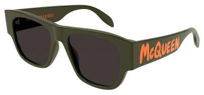 Alexander McQueen AM0328S Sunglasses - Green & Orange / Grey