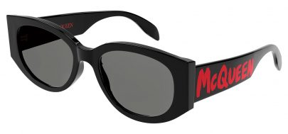 Alexander McQueen AM0330S Prescription Sunglasses - Black & Red / Grey