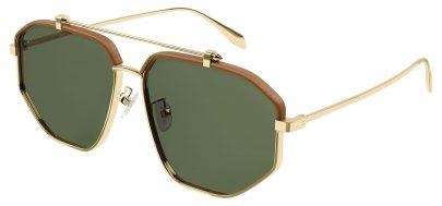 Alexander McQueen AM0337S Prescription Sunglasses - Gold / Green