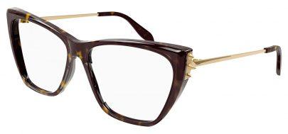 Alexander McQueen AM0341O Glasses - Havana & Gold