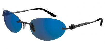Balenciaga BB0179S Sunglasses - Grey / Blue Mirror