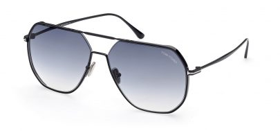 Tom Ford FT0852 Gilles-02 Prescription Sunglasses - Shiny Black / Smoke Gradient