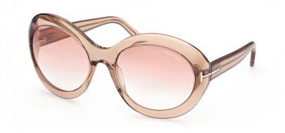 Tom Ford FT0918 Liya-02 Prescription Sunglasses - Shiny Light Brown / Gradient Bordeaux