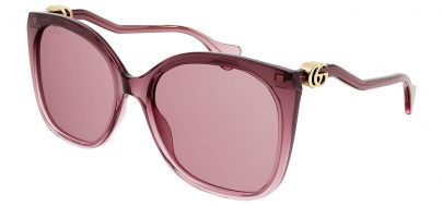 Gucci GG1010S Sunglasses - Transparent Burgundy / Pink