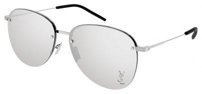 Saint Laurent SL 328/K M Sunglasses - Silver / Silver Mirror