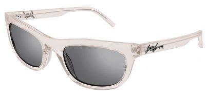 Saint Laurent SL 493 Prescription Sunglasses - Transparent Beige / Silver Mirror